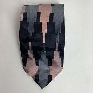 Vintage Stefano Enrici Italian Silk Tie Pink Grey